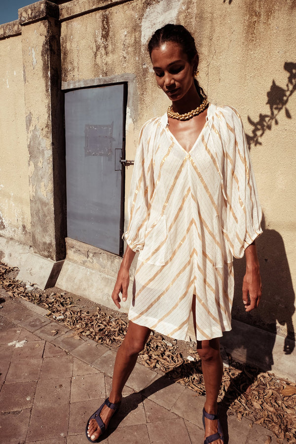 Simple Mini Smock Dress - Bess Mayte in Gold Stripe - Innika Choo