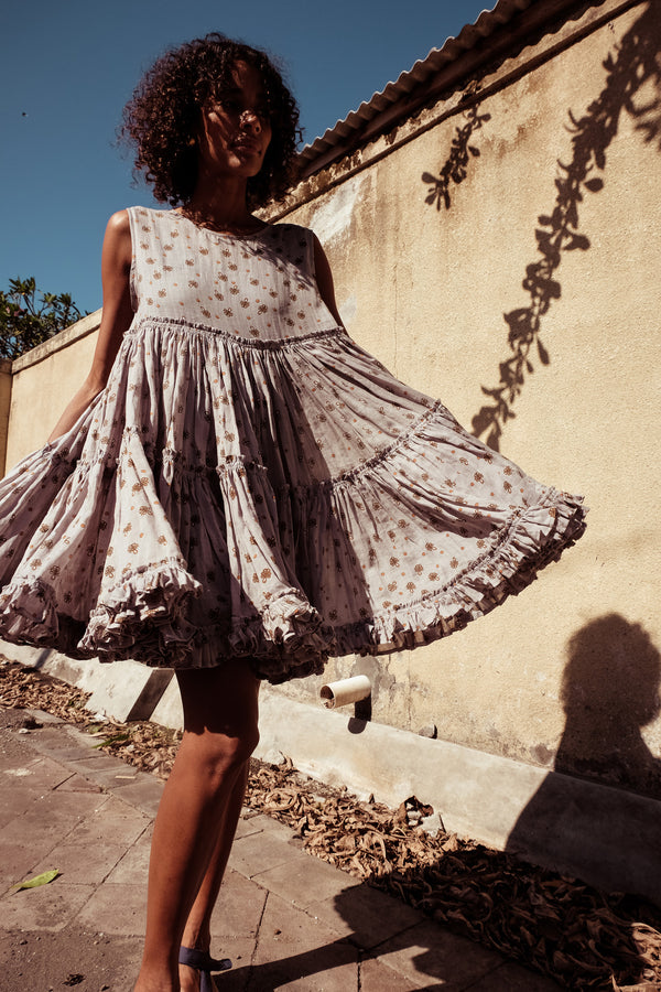 Big Tier Frock Dress - Izzy Werthit in String Print - Innika Choo