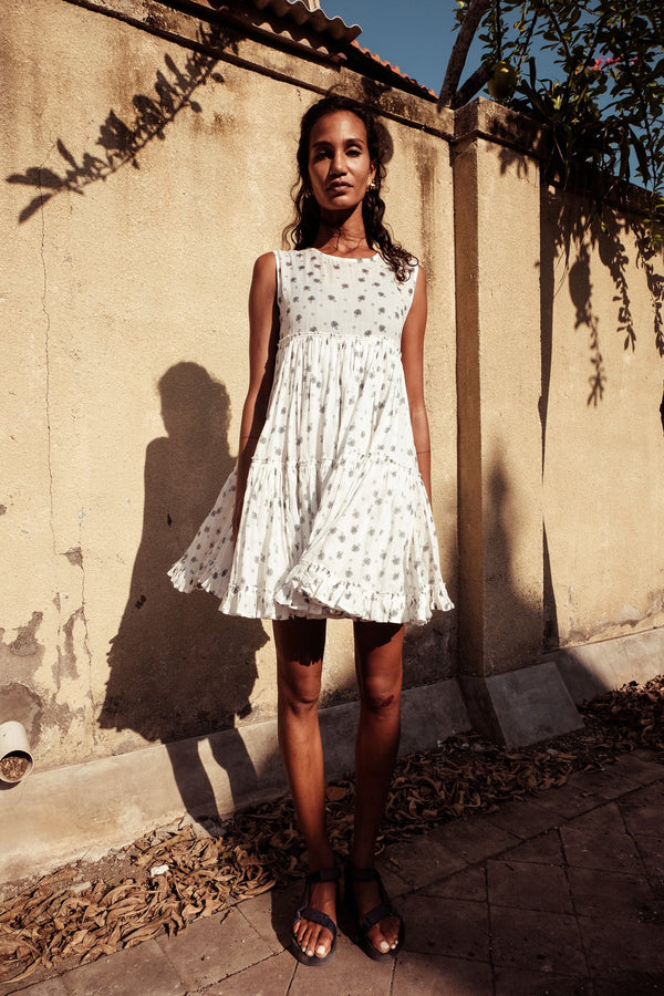 Big Tier Frock Dress - Izzy Werthit in Milk PRINT - Innika Choo