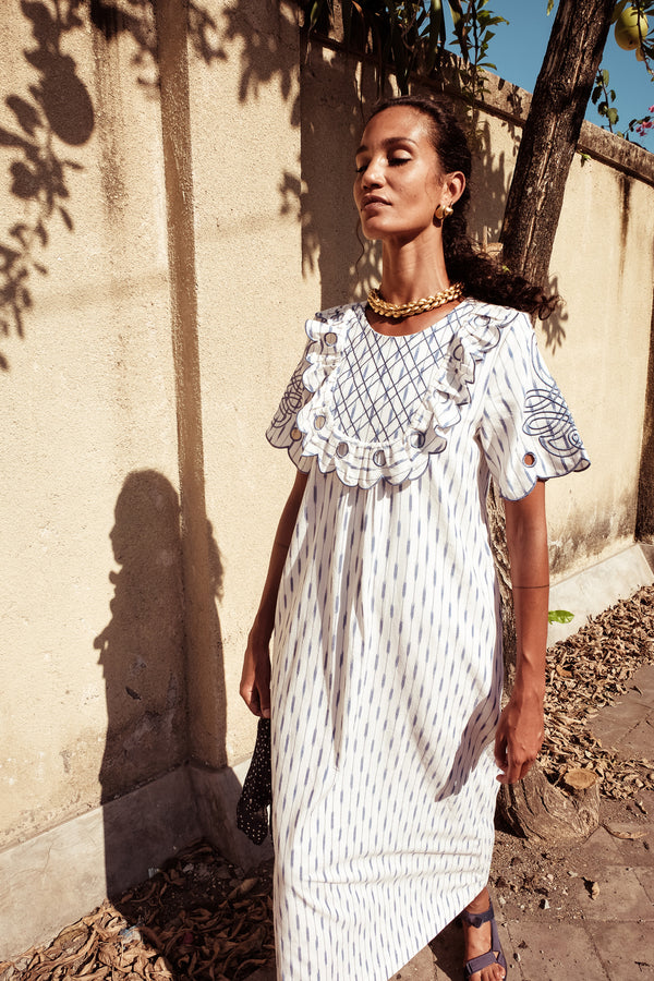 Yoke Maxi Dress - Betty Diddin in COPEN IKAT - Innika Choo
