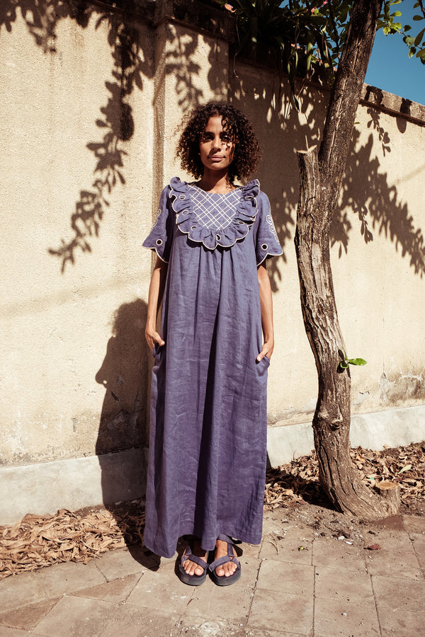 Linen Yoke Maxi - Betty Diddin in Copen Blue - Innika Choo