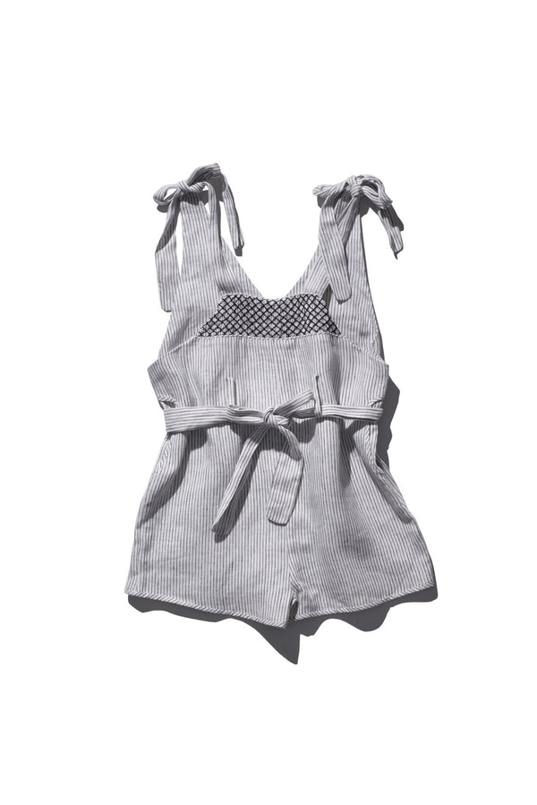 Linen Daisy Dungaree Mini - Berry Bard Little Stripe - Innika Choo
