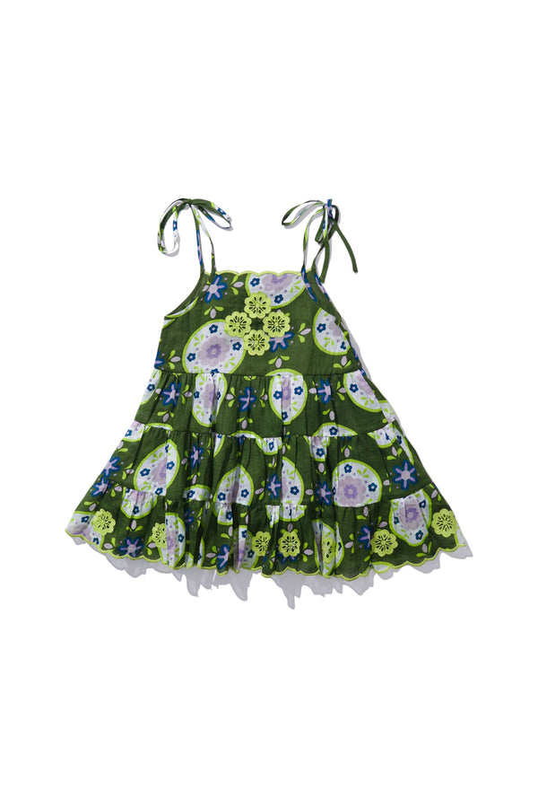 Kids Ruffle Layered Dress - Helda Hans in Lime Floret