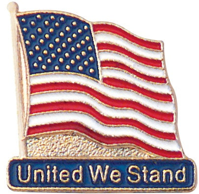 P-104 United We Stand Flag Lapel Pin - BenchmarkSpecialAwardsCo