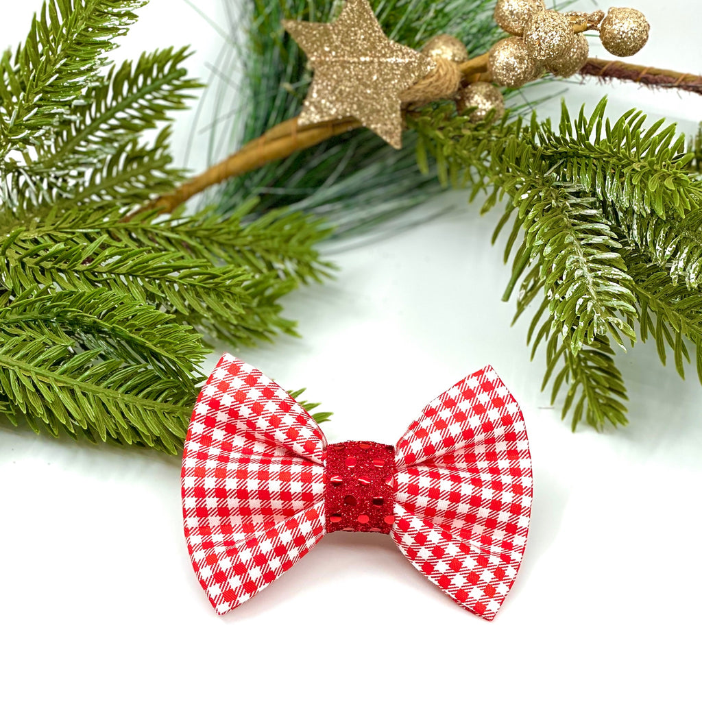 """Red Gingham"" Bow Tie / Sailor Bow"