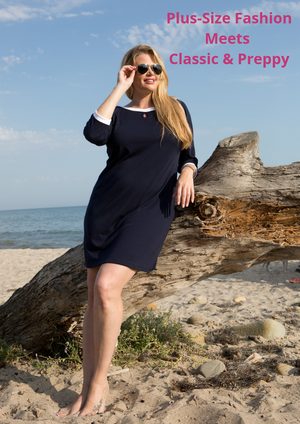 Navy Jane: Confident & Sophisticated. Plus-size fashion meets classic & preppy. Nautical style fashion clothes for plus size women
