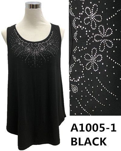 Over Body Tank Top Bling A1005-1 Black/White