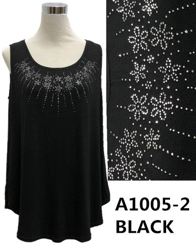 Over Body Tank Top Bling A1005-2 Black/White