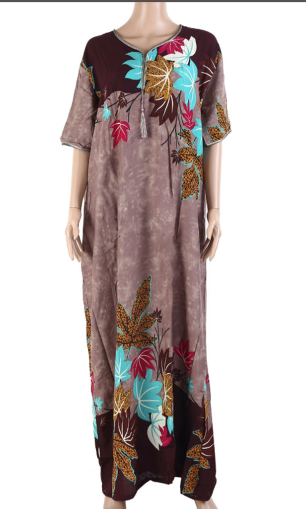 Floral Long Kaftan Maxi Dress Womens Summer Holiday Beach Kaftan Dresses for Women 2692