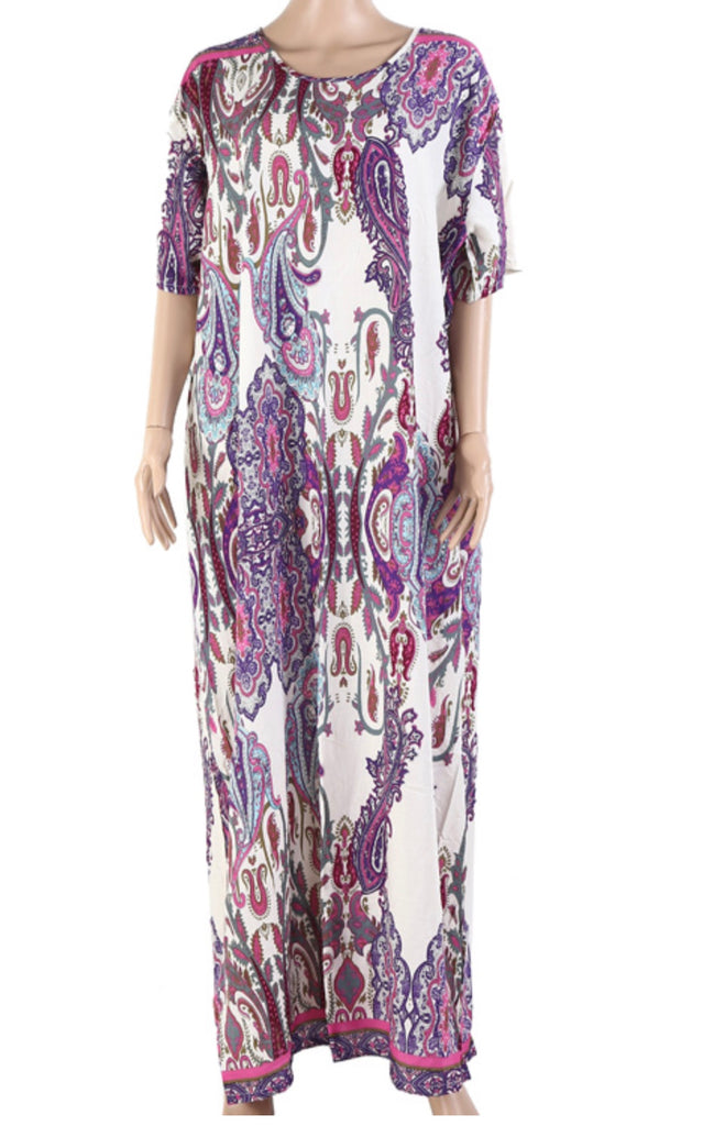 Floral Long Kaftan Maxi Dress Womens Summer Holiday Beach Kaftan Dresses for Women 2695