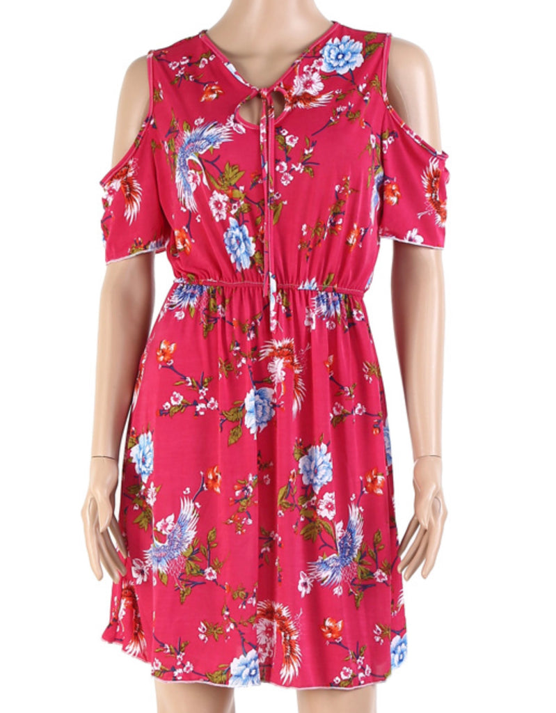 Women's Summer Cold Shoulder Floral Sundress  Maxi Dress 2715