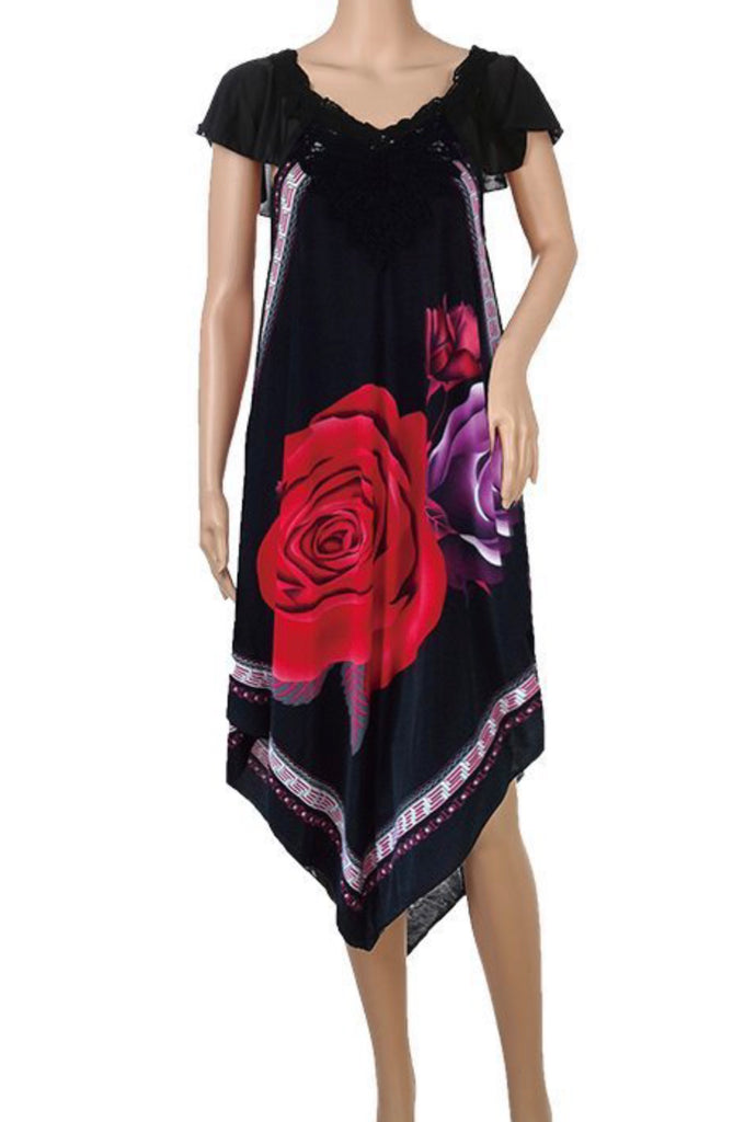 Women's Knee Length Dress with Rose Design 59