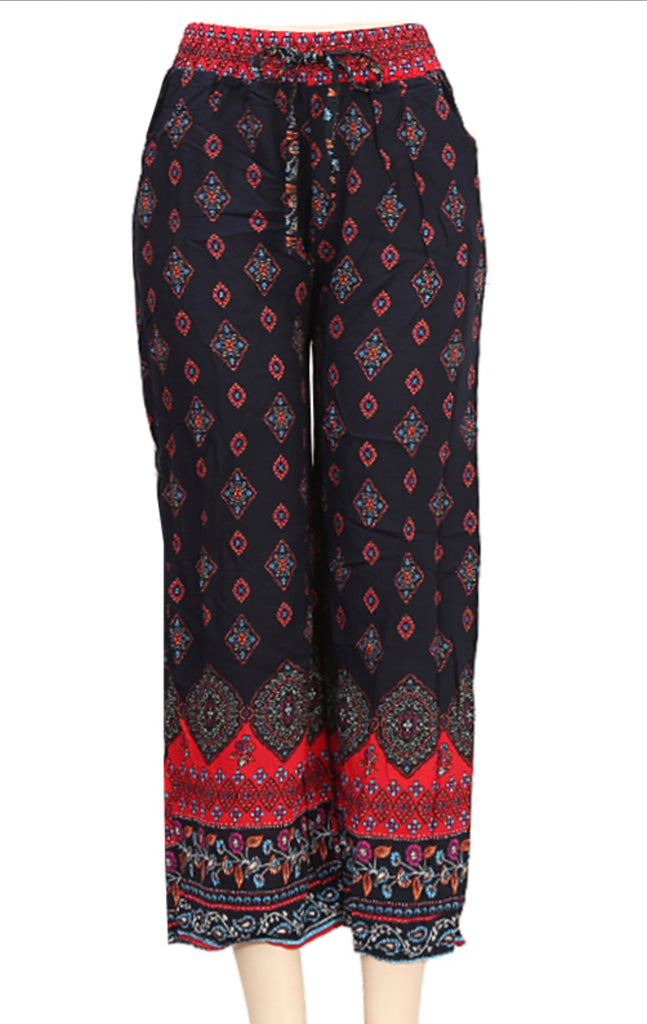 Women's Loose Baggy Yoga Palazzo Pants Floral Printed Lounge Flowy Beach Pants