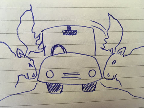 Moose ramming Car