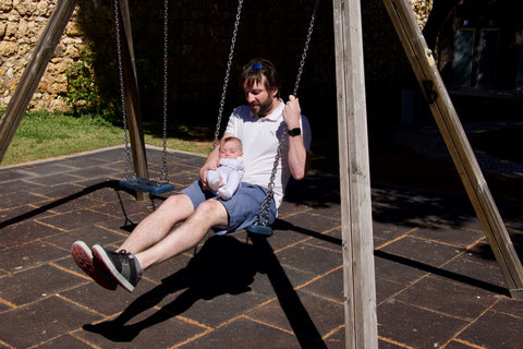 dad and Chubz swing