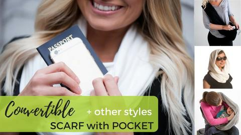 martstuff Keep your belongings safe and secure – with the Convertible Pocket Scarf. It can be worn as an scarf, head cover, or cross-body wrap and it features a hidden zippered pocket to store your phone, wallet, and keys. You'll have all your stuff within easy reach, but you'll be able to keep your hands free. Perfect for airports.