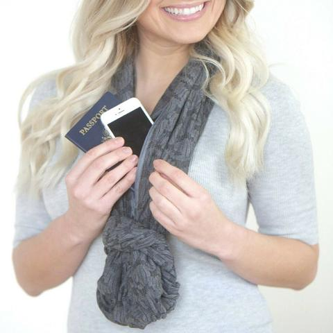 marstuff FEATURES  Multi-use Infinity scarf with a built-in pocket Inverts into itself and folds into a small clutch purse Light weight with sparkling shimmer throughout. 100% polyester