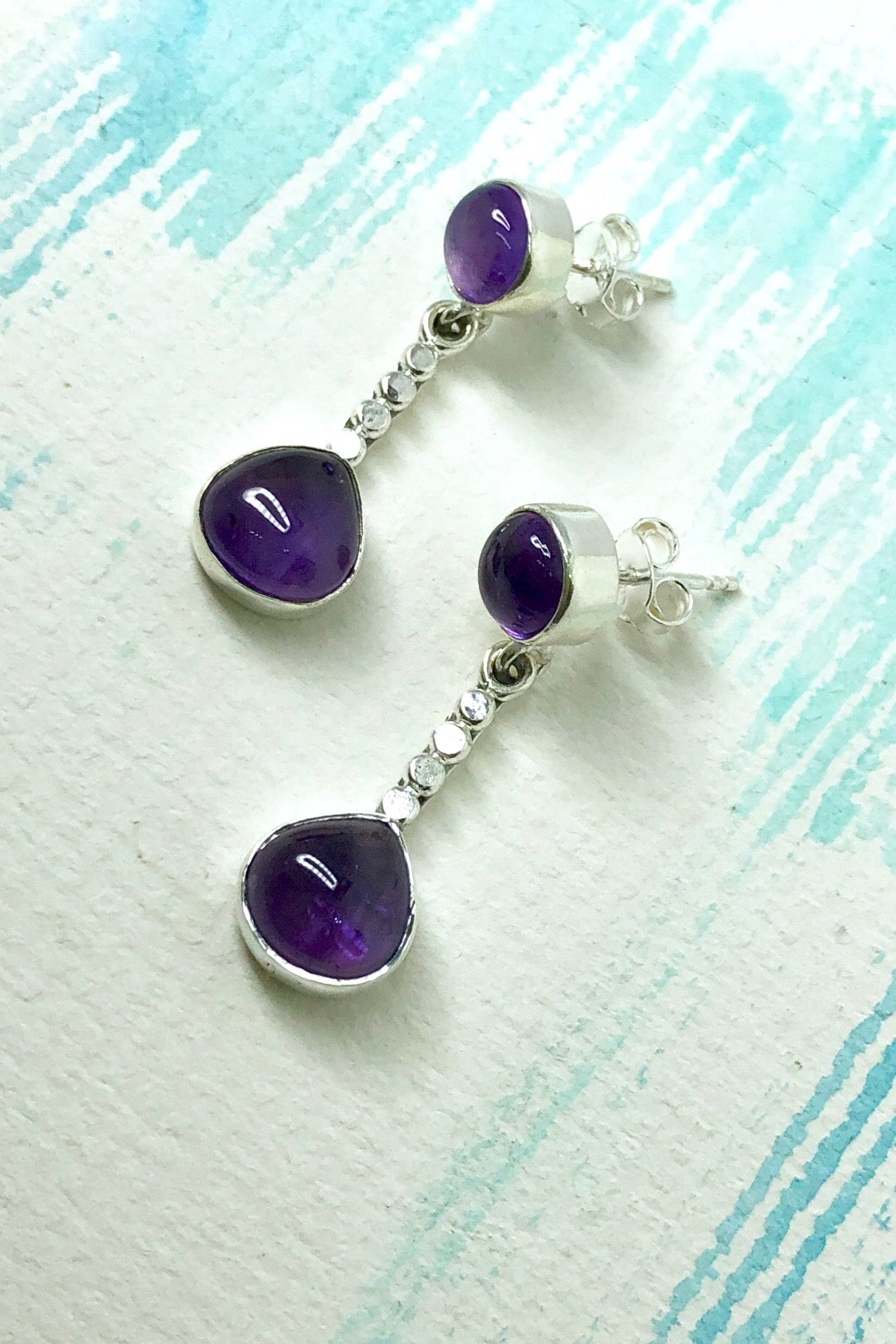 Oracle Earrings Dewdrop in Amethyst and 925 Silver