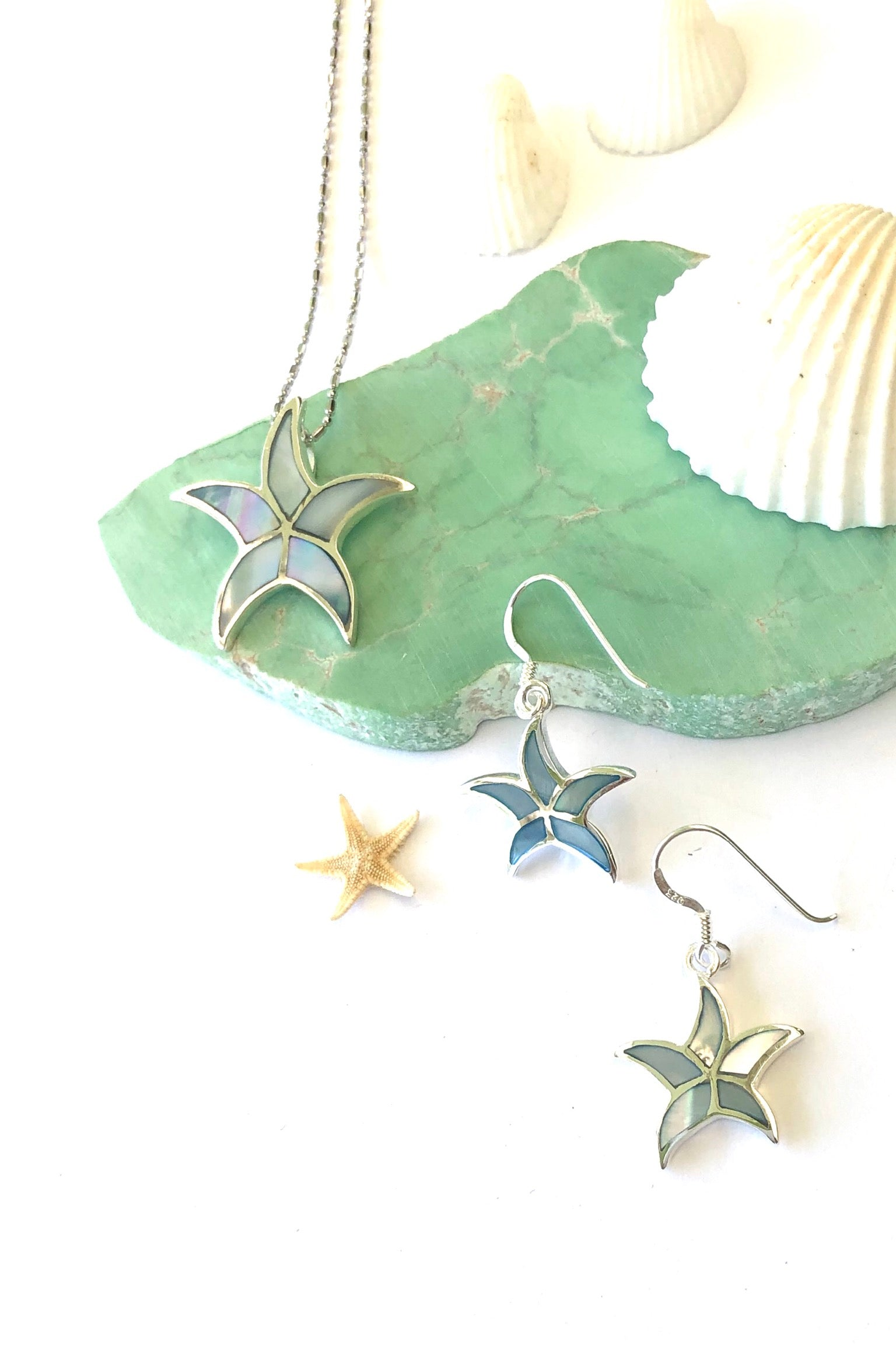 Oracle Silver Seas Pendant Starfish Inlay on chain