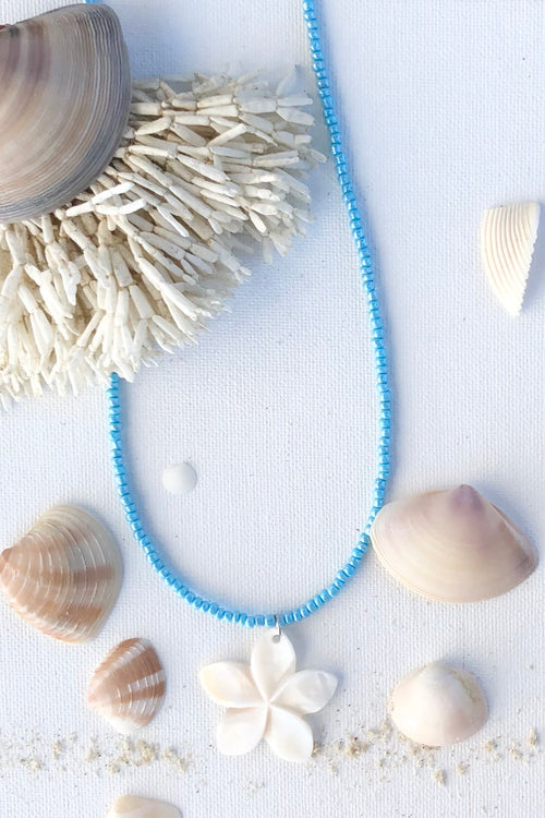 Necklace Heart Shell Blue