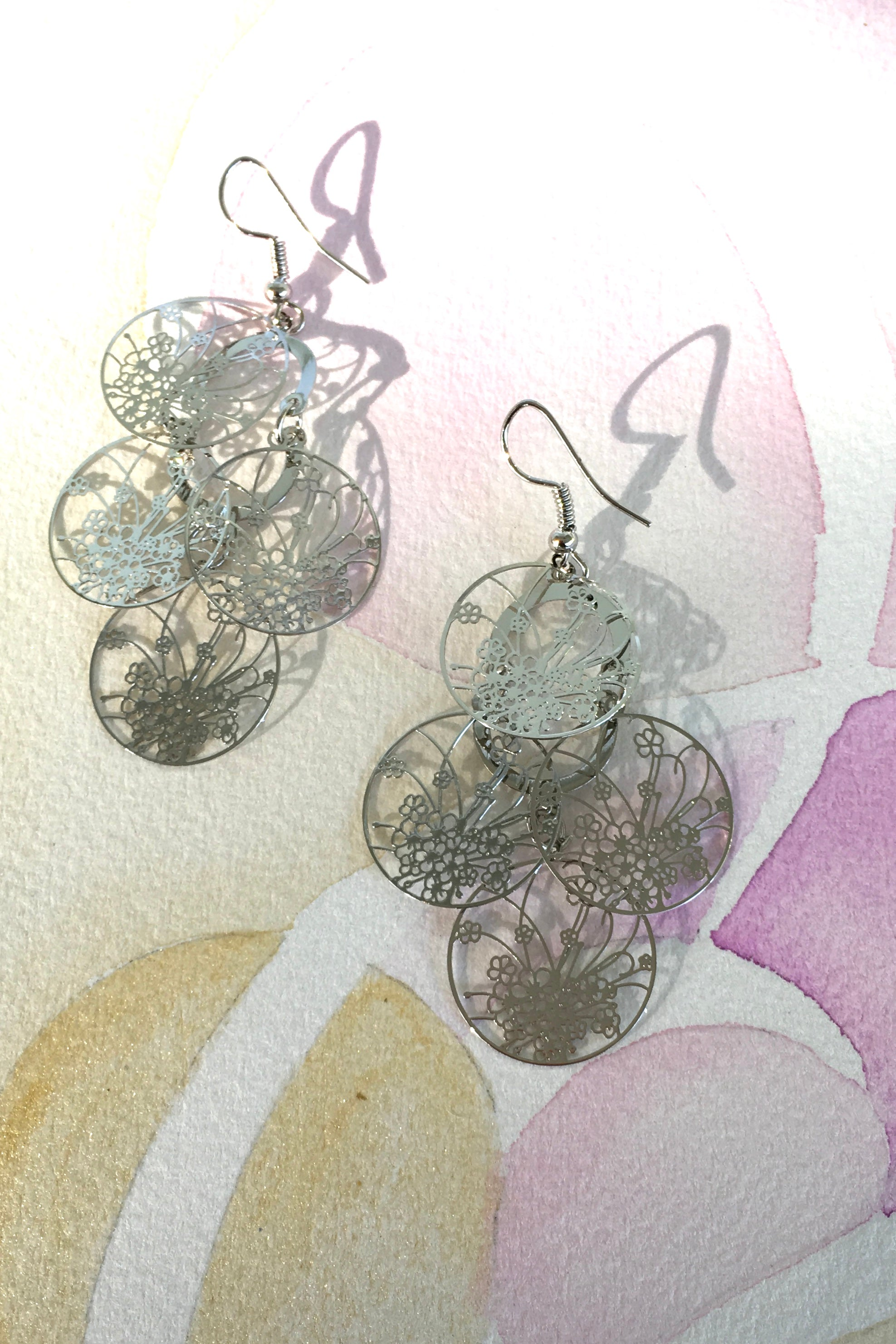 Earrings Flutter Windowpane Silvery