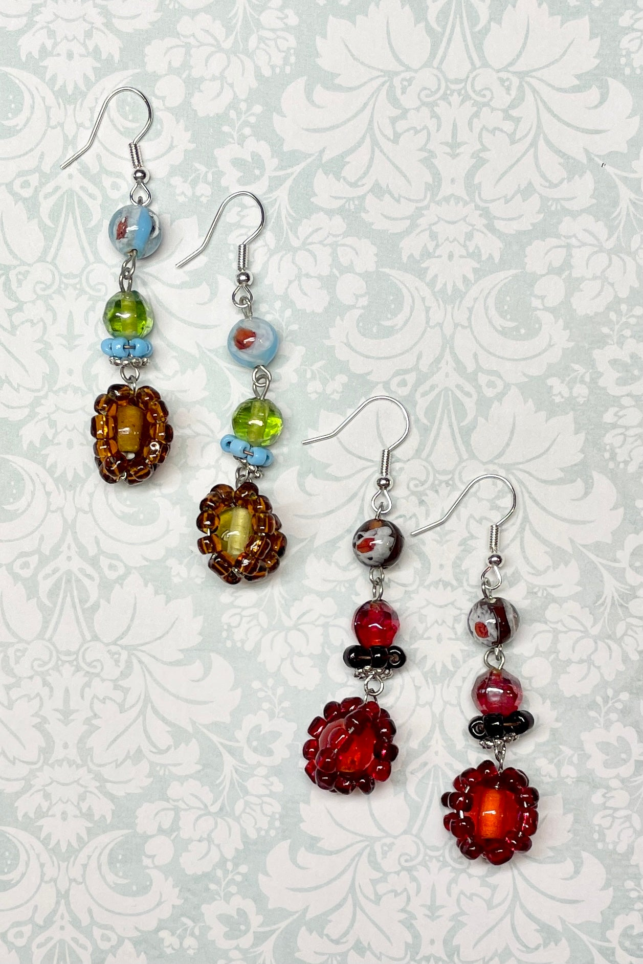 Colourful glass bead earrings in drop style