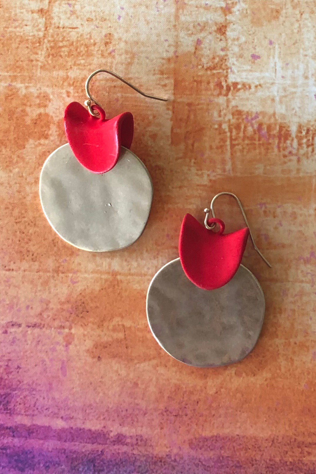 Earrings Lora Disc with Red Detail, 70's vintage style earrings