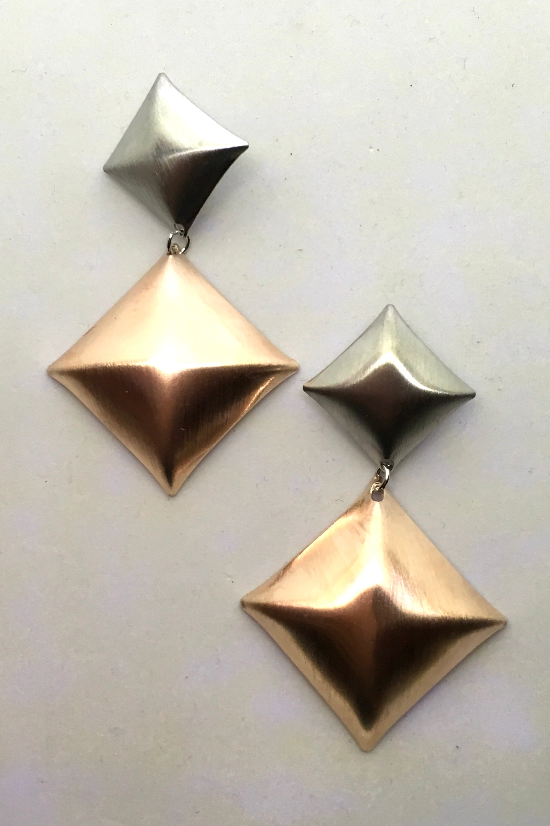 Earrings Chutzpah Metals, Silver and Rose Gold Toned Drop Earrings