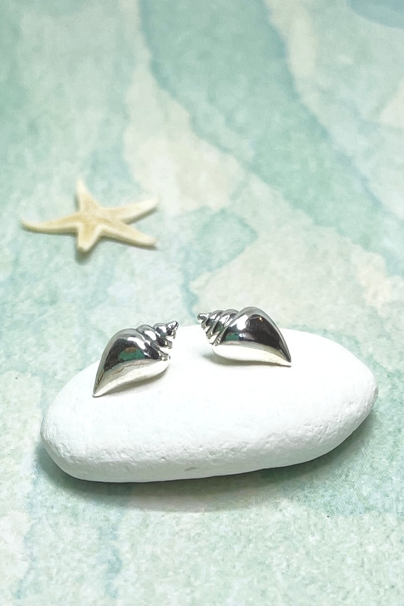 Earrings are a tiny seashell in solid silver, absolutely perfect beach inspired gift.