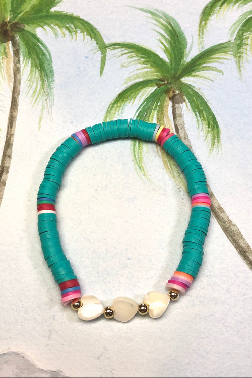 Bracelet Summer Heart Shell Aqua