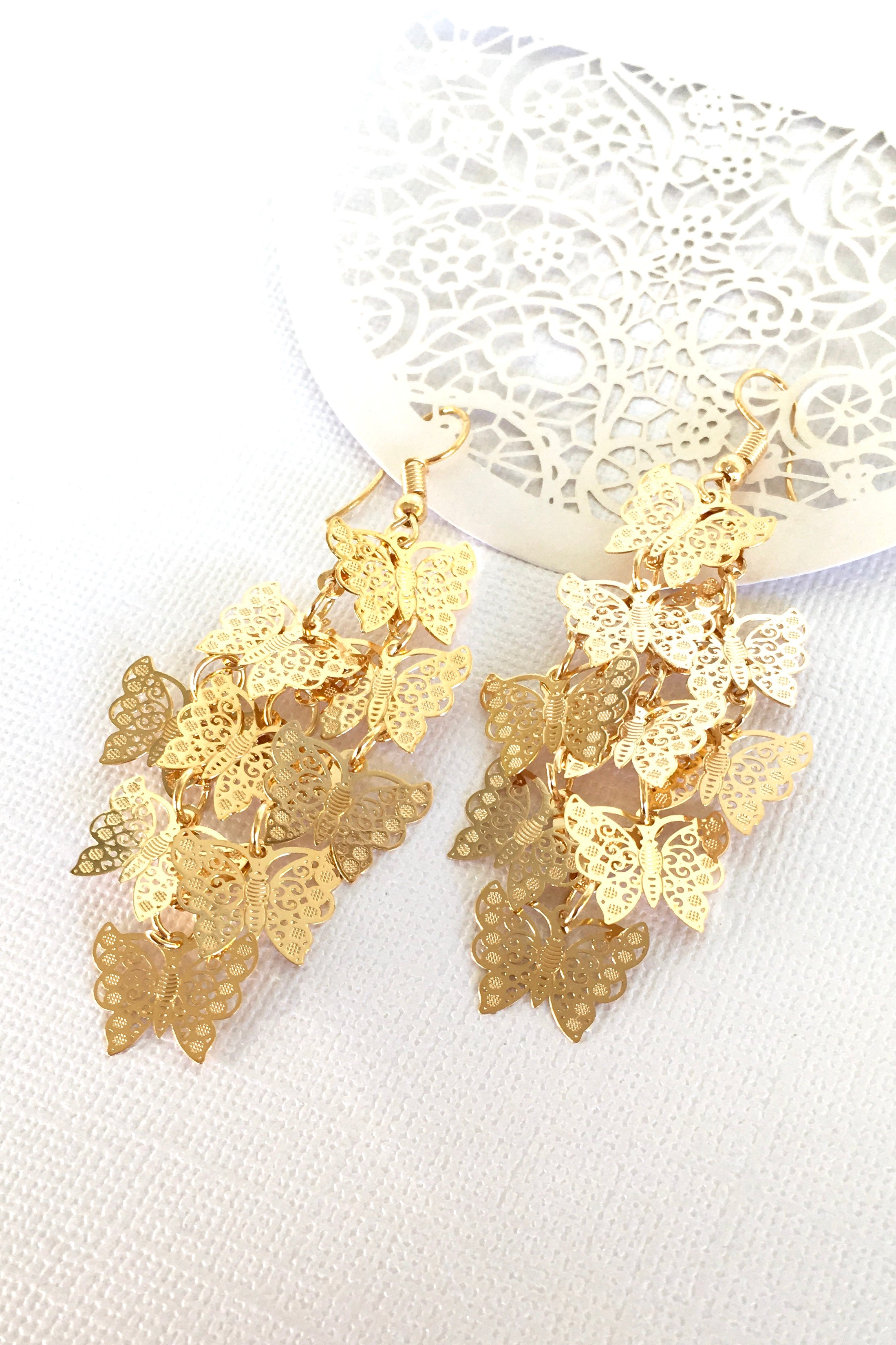 Earrings Flutter Butterfly Flight Golden