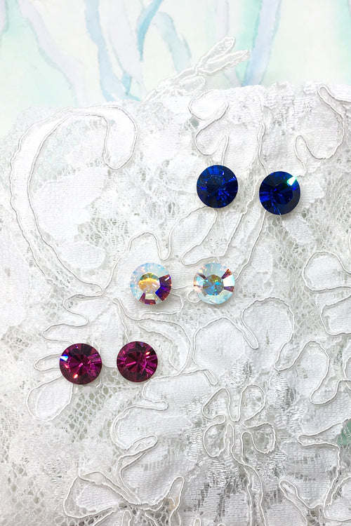Earrings Crystal Stud in Fuschia Pink, Capri Blue or Aurora