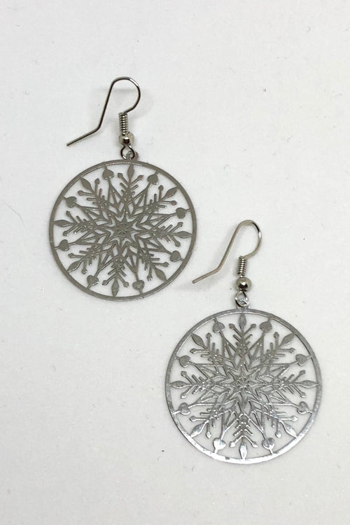 Earrings Flutter Single Snowflake Silver tone