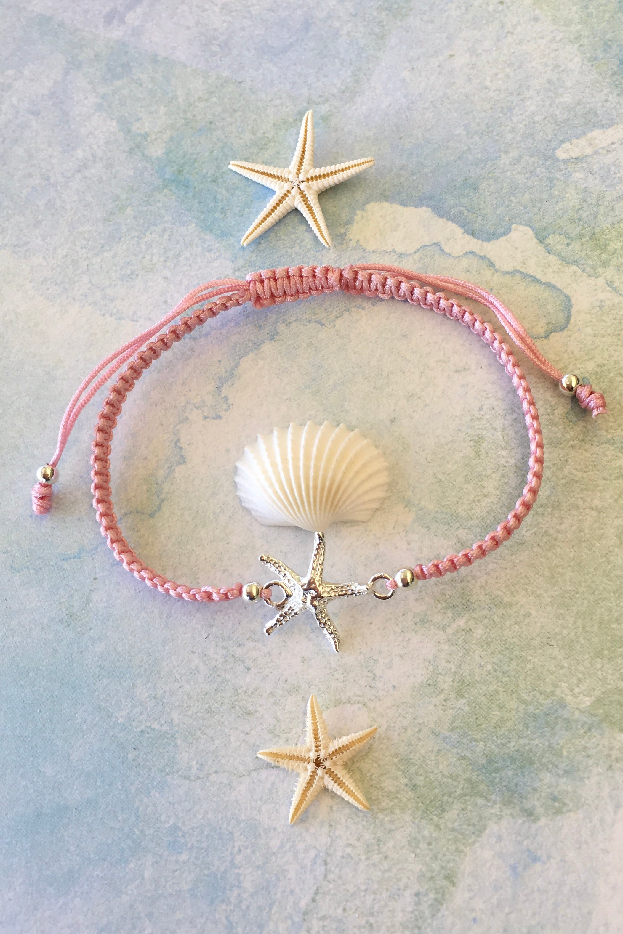 Bracelet Starfish Friendship in 925 Silver, adjustable friendship bracelet with silver starfish detail