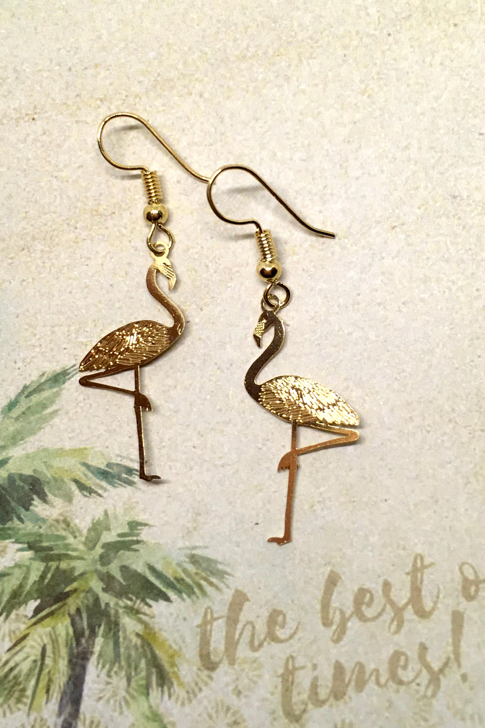 Earrings Fluttery Flamingo Silvery, tiny lightweight flamingo style