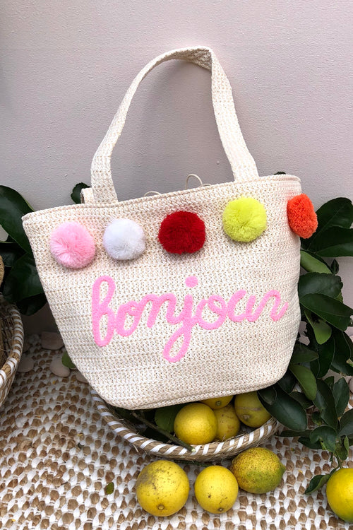 Bag Ava Bonjour in Cream Straw