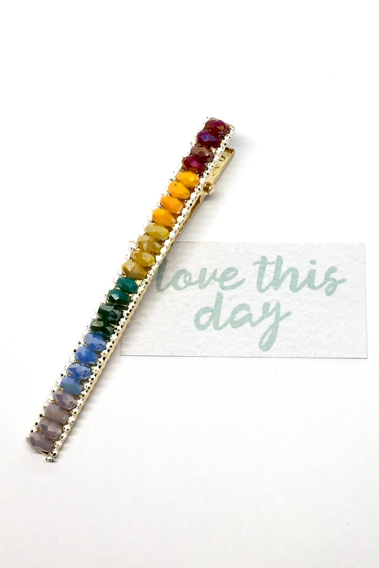 Womens hair accessory, 90s rainbow bead clip. Colourful and cool.