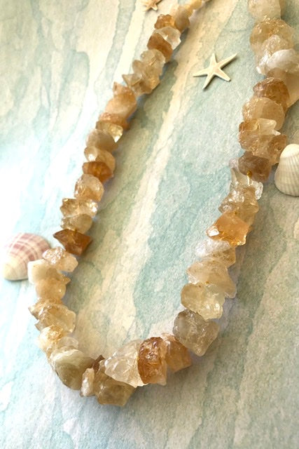Citrine coloured crystal necklace