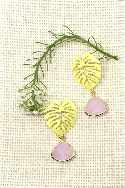 Earrings Summer Jungle Leaf in Yellow and Pink