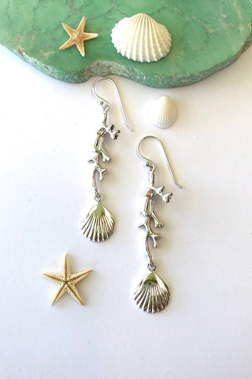 Oracle Silver Seas Earrings Coral and Seashell