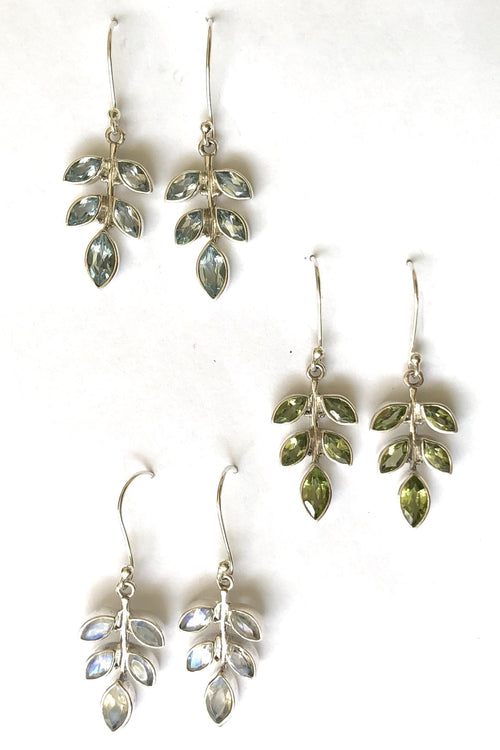 Oracle Earrings Summer Gemstone Leaf in Silver