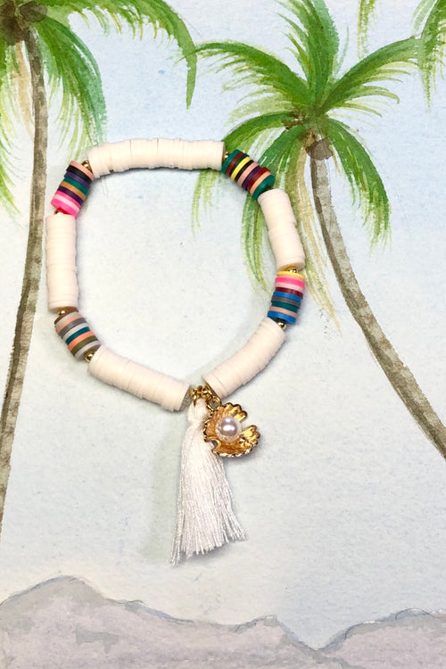 Bracelet Summer Shell Tassel White