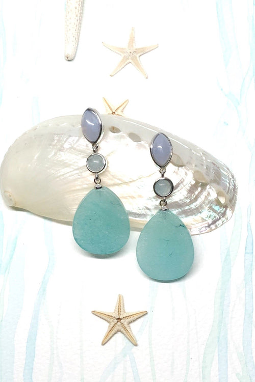 Earrings Ado Aqua Quartz with Blue Lace Agate