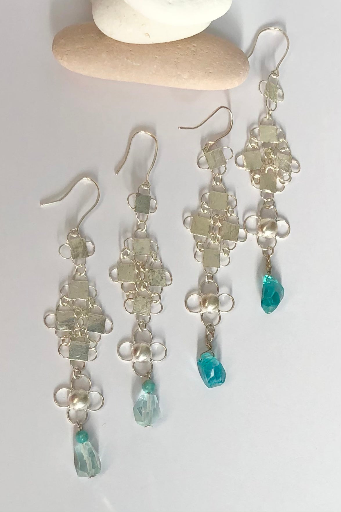 Earrings Pemba Silver Chainmaille Blues