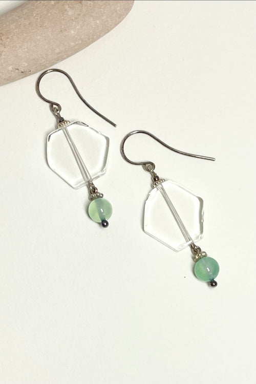 Earrings Serendipity Rock Crystal Hexagon