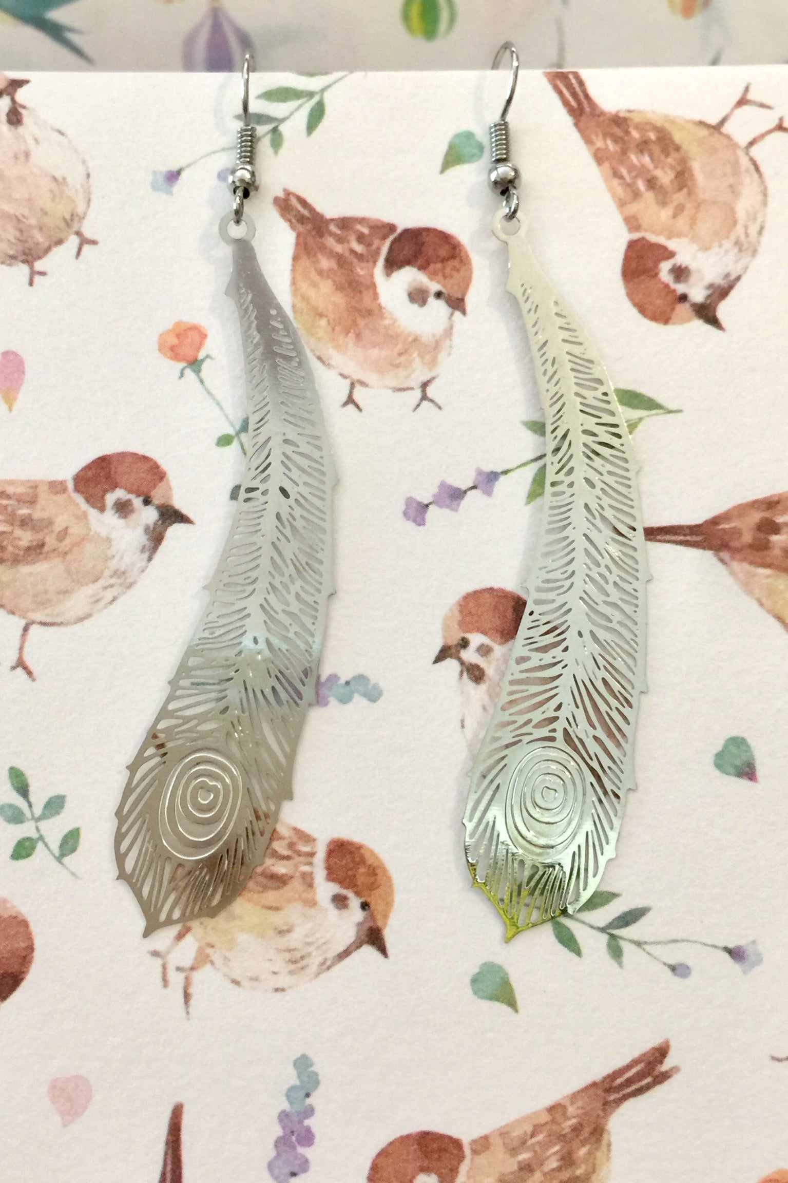 Earrings Flutter Feather Silver