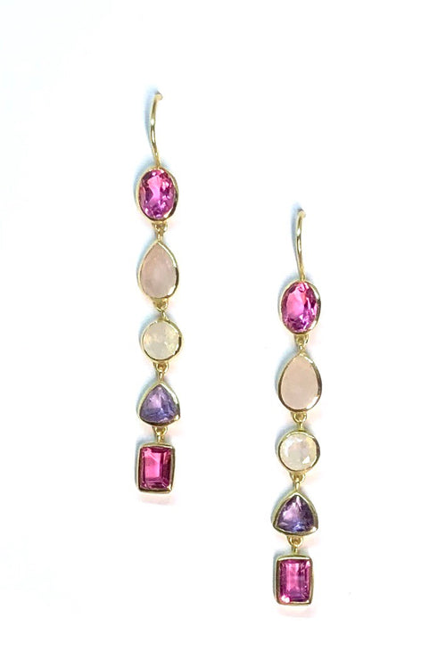 Oracle Earrings Golden Rainbow Pinks