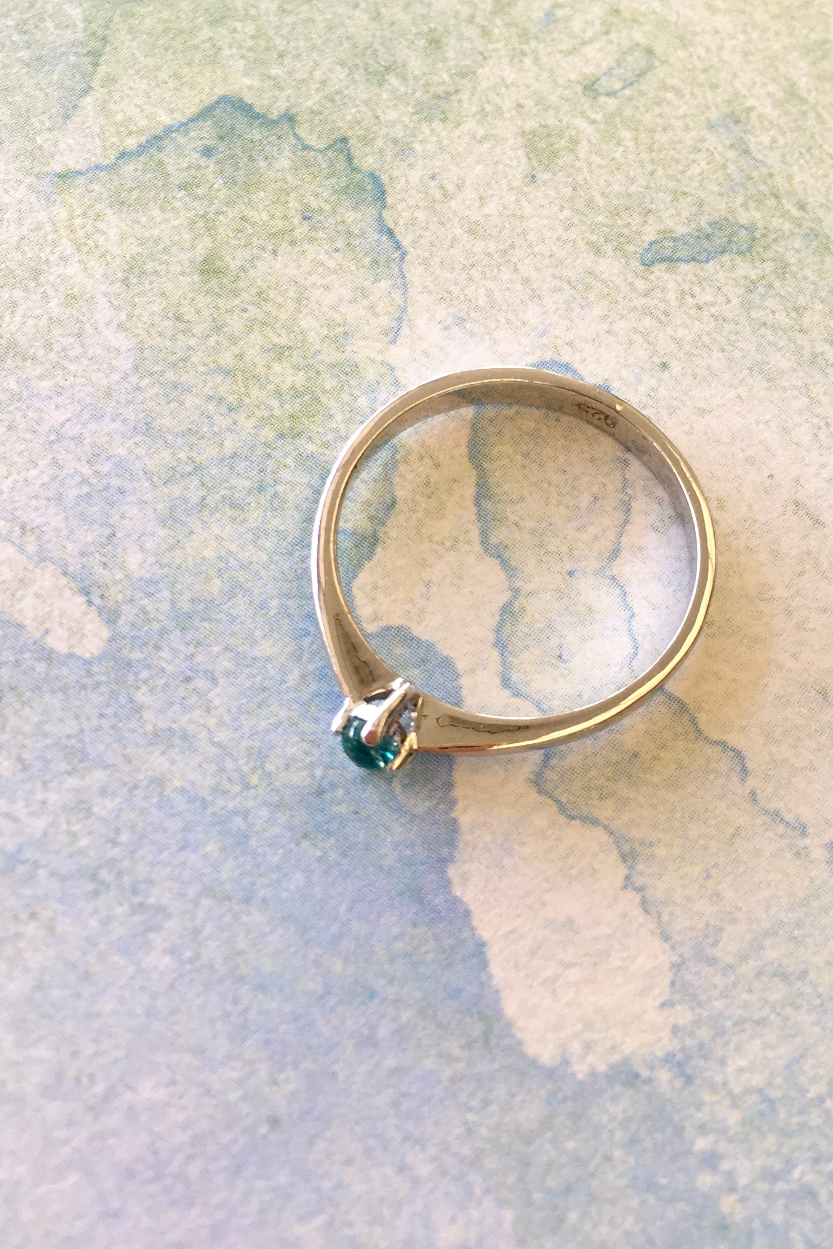Ring with Blue Green Tourmaline Gemstone in a Silver Setting 2