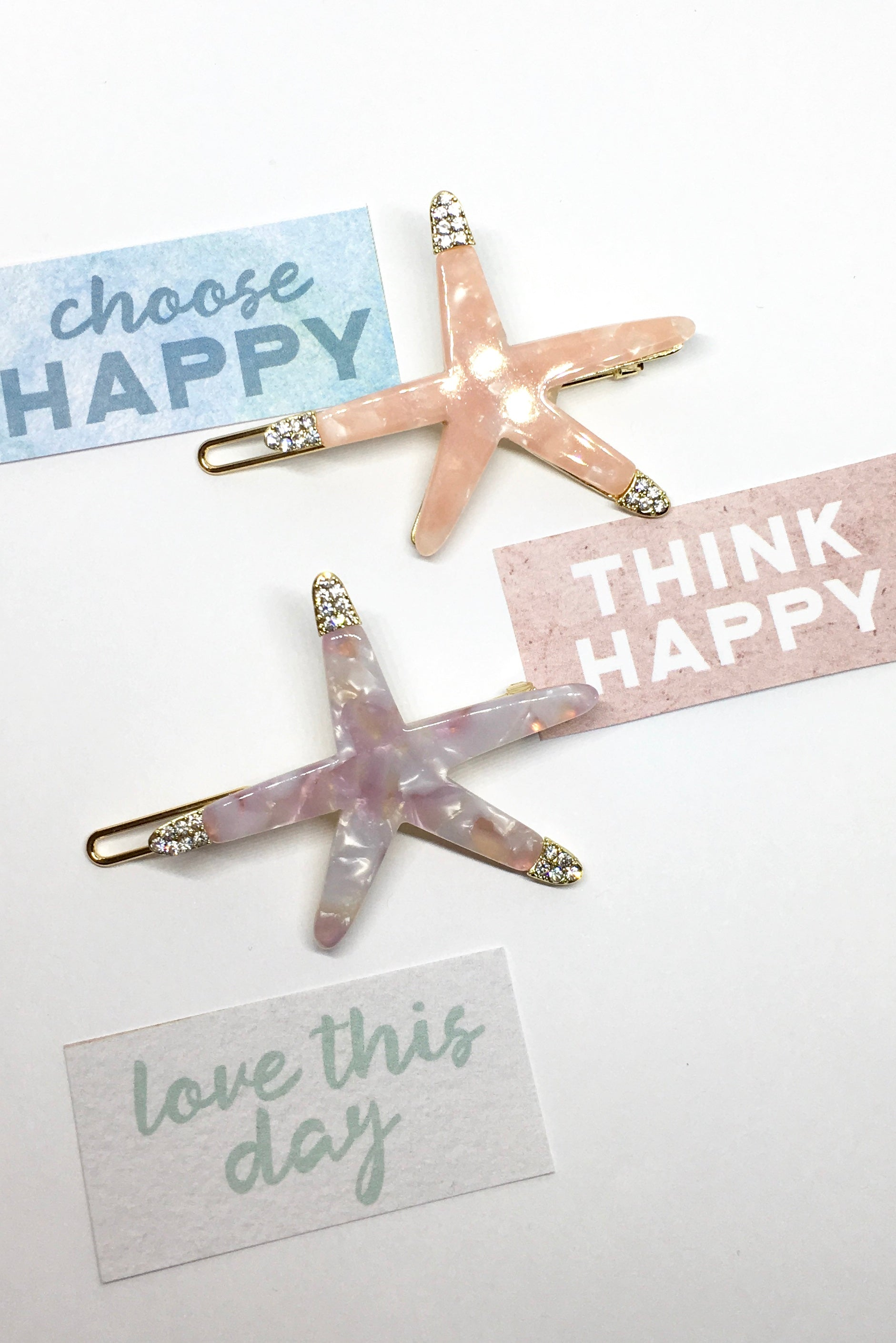 Hair accessories. Beachy starfish clips with diamantes. Pink or mauve marble. 90s inspired, perfect for an ocean lover and beach babe.