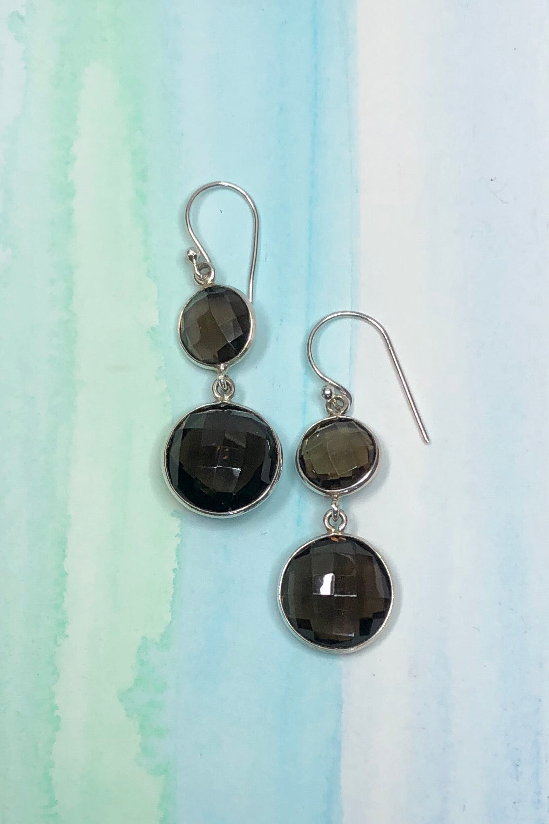 Oracle Earrings Smokey Quartz Circles